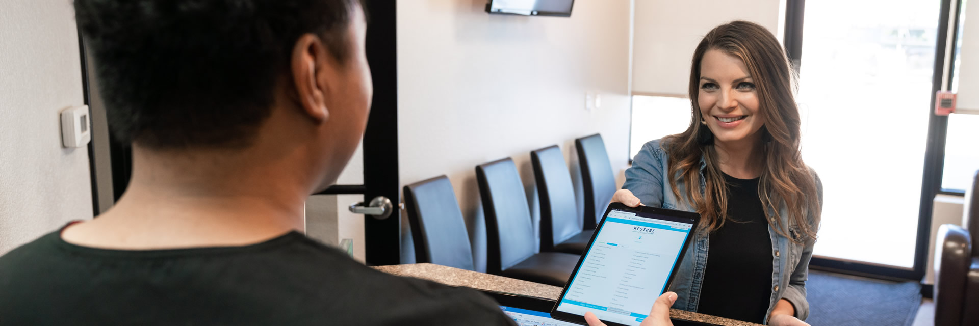 New patient registering at the dentist's office